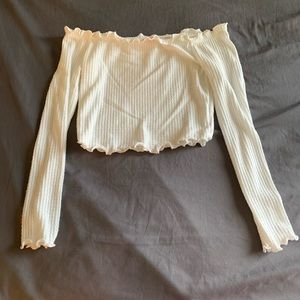 White long sleeve, off the shoulder crop top